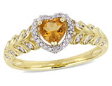 2/5 Carat (ctw) Natural Citrine Heart Promise Ring 10k Yellow Gold with Diamonds