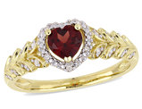 1/2 Carat (ctw) Natural Garnet Heart Promise Ring in 10K Yellow Gold with Diamonds