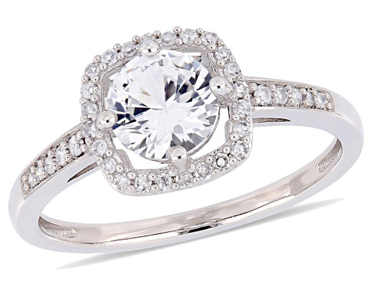 1.00 Carat (ctw) Lab Created White Sapphire Halo Engagement Ring in 10K White Gold with Diamonds