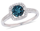 1.00 Carat (ctw) Natural London Blue Topaz Ring in 10K White Gold with Diamonds 1/8 Carat (ctw)