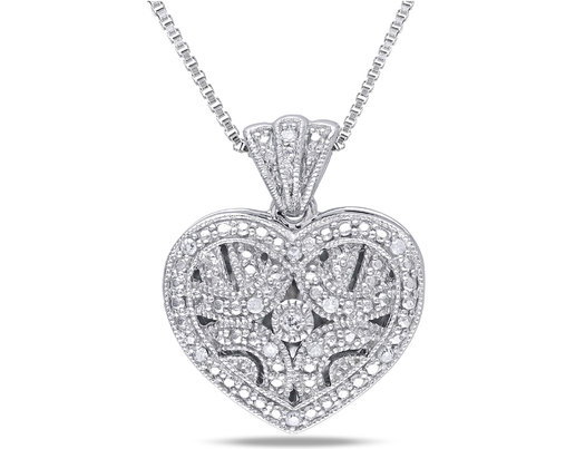 1/20 Carat (ctw) Accent Diamond Locket Heart Pendant In Sterling Silver with Chain
