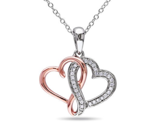 1/7 Carat (ctw I2-I3) Diamond Twin Heart Pendant in Rose Plated Sterling Silver with Chain