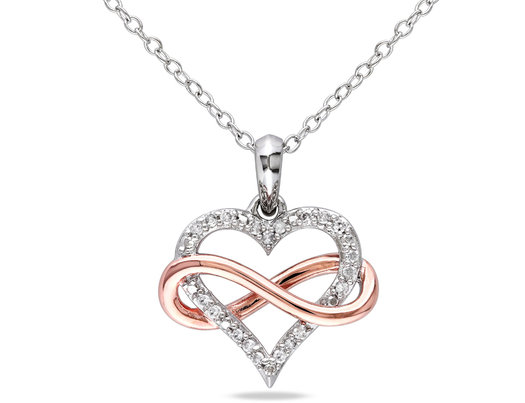 1/10 Carat (ctw I2-I3) Diamond Heart Infinity Pendant Necklace in Rose Plated Sterling Silver with Chain