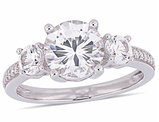 3.00 Carat (ctw) Lab Created White Sapphire Ring in 10K White Gold with Diamonds