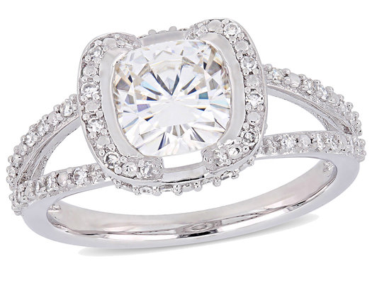 2.00 Carat (ctw) Synthetic Moissanite Engagement Ring in 14K White Gold with Diamonds 1/4 Carat (ctw I1-I2)