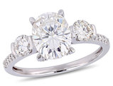 2.50 Carat (ctw) Oval Cut Synthetic Moissanite Engagement Ring in 14K White Gold with Diamonds 1/6 Carat (ctw I1-I2)
