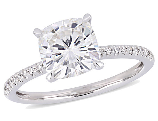 2.00 Carat (ctw) Synthetic Moissanite Engagement Ring in 14K White Gold with Diamonds 1/10 Carat (ctw I1-I2)