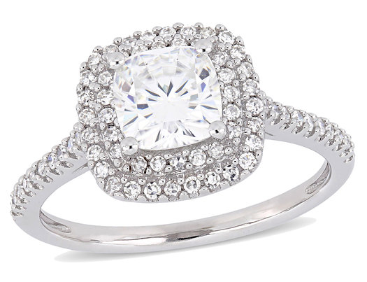 1 00 Carat Ctw Cushion Cut Synthetic Moissanite Engagement Ring In 14k White Gold With Diamonds 1 3 Carat Ctw