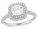 1.00 Carat (ctw) Cushion Cut Synthetic Moissanite Engagement Ring in 14K White Gold with Diamonds 1/3 Carat (ctw)