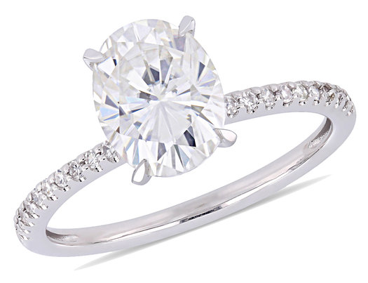 2.00 Carat (ctw) Solitaire Oval Synthetic Moissanite Engagement Ring in 14K White Gold with Diamonds 1/10 Carat (ctw I1-I2)