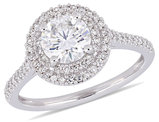 1.00 Carat (ctw) Round Moissanite Halo Engagement Ring in 14K White Gold with Diamonds 1/3 Carat (ctw I1-I2)