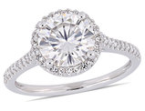 2.00 Carat (ctw) Round Moissanite Halo Engagement Ring in 14k White Gold with Diamonds 1/5 Carat (ctw I1-I2)