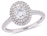 1.00 Carat (ctw) Synthetic Moissanite Double Halo Engagement Ring in 14K White Gold with Diamonds 1/3 Carat (ctw I1-I2)