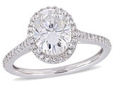 2.00 Carat (ctw) Synthetic Moissanite Halo Engagement Ring 14K White Gold with 1/5 Carat (ctw I1-I2) Diamonds 1