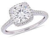 2.00 Carat (ctw) Synthetic Moissanite Halo Ring 14K White Gold with Diamonds (I2-I3)