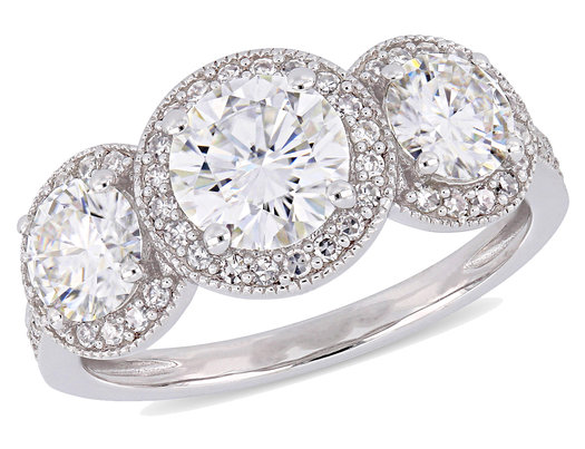 2.00 Carat (ctw) Synthetic Moissanite Three Stone Ring in 14K White Gold with Diamonds (I1-I2)