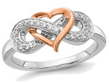 14K White and Yellow Gold Infinity Heart Promise Ring with Diamonds
