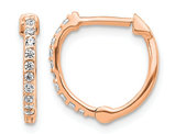 1/5 Carat (ctw) Diamond Hoop Earrings in 14K Rose Pink Gold
