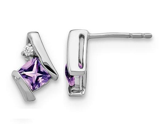 1/2 Carat (ctw) Cushion Cut Amethyst Stud Earrings in Sterling Silver