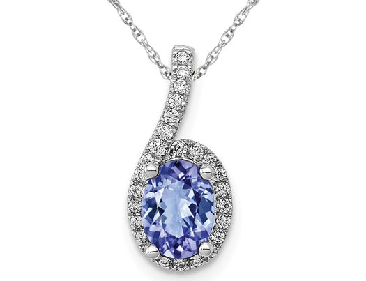 2/3 Carat (ctw) Tanzanite Drop Pendant Necklace with 1/8 Carat (ctw) Diamonds in 14K White Gold and Chain