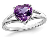 1.40 Carat (ctw) Solitaire Heart Natural Amethyst Promise Ring Carat (ctw) in Sterling Silver