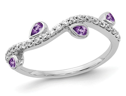 2/3 Carat (ctw) Natural Amethyst Vine Wedding Band Ring in 14K White Gold with 1/5 Carat (ctw) Diamonds