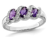 Ladies 3/5 Carat (ctw) Three Stone Amethyst Ring in Sterling Silver