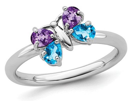 2/3 Carat (ctw) Natural Amethyst And Blue Topaz Butterfly Ring in Sterling Silver
