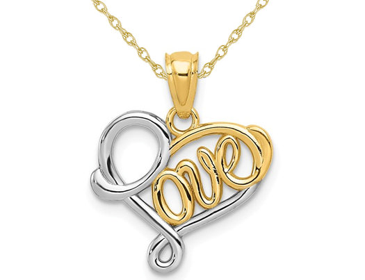 14K Yellow and White Gold LOVE Heart Pendant Necklace with Chain