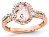 Ladies 14K Rose Pink Gold 2.05 Carat (ctw) Morganite Halo Ring with Diamonds 1/5 Carat (ctw)