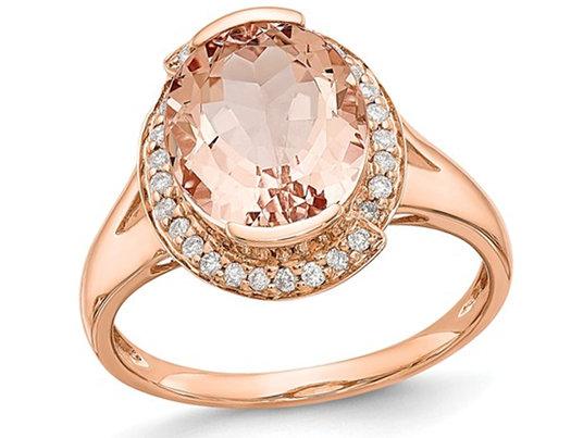 14K Rose Pink Gold 3.30 Carat (ctw) Morganite Halo Ring with Diamonds 1/8 Carat (ctw)