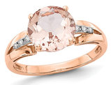 14K Rose Pink Gold 2.70 Carat (ctw) Morganite Ring with Accent Diamonds