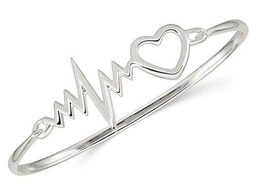 Sterling Silver Polished Heartbeat Hinged Bangle Bracelet