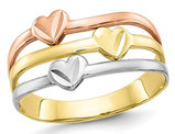 14K Yellow, White, Rose Pink Gold Triple Heart Promise Ring