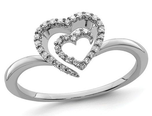 1/10 Carat (ctw) Diamond Sterling Silver Polished Heart Promise Ring