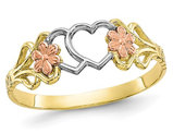 10K Yellow and White, Gold Heart Flower Promise Ring