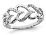 Sterling Silver Heart Promise Ring with Diamonds 1/10 Carat (ctw)