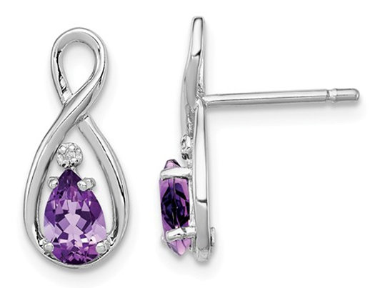 1.25 Carat (ctw) Sterling Silver Amethyst Infinity Drop Post Earrings