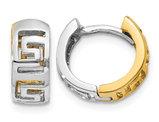 14K Yellow and White Gold Greek Key Hoop Earrings