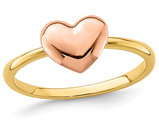 Ladies 14K Rose Pink and Yellow Gold Polished Heart Ring