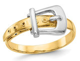 14K White and Yellow Gold Polished Buckle Ring