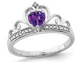 1/3 Carat (ctw) Natural Heart Amethyst Promise Ring in Sterling Silver
