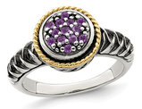 1/4 Carat (ctw) Natural Amethyst Cluster Ring in Sterling Silver with 14K Gold Accents