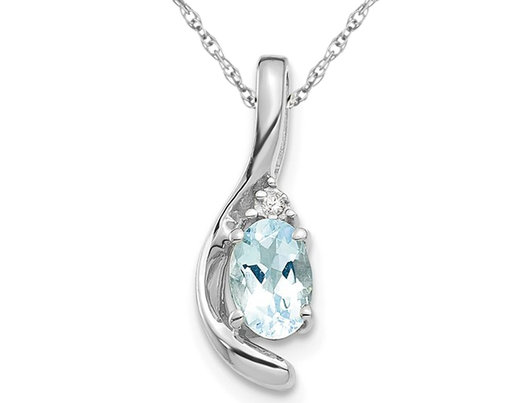 1/3 Carat (ctw) Genuine Aquamarine Drop Pendant Necklace in 14K White Gold with Chain