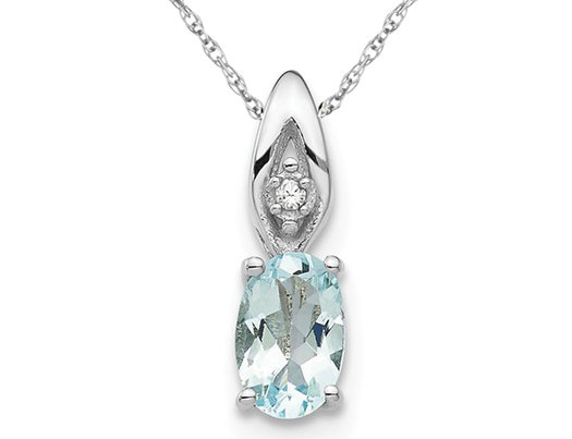 2/5 Carat (ctw) Natural Aquamarine Drop Pendant Necklace in 14K White Gold with Chain