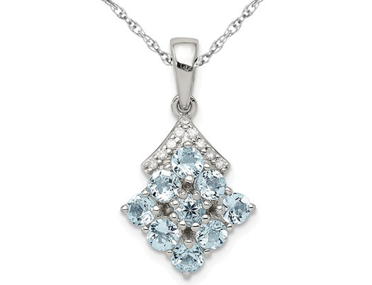 3/4 Carat (ctw) Natural Aquamarine Cluster  Pendant Necklace in Sterling Silver with Chain