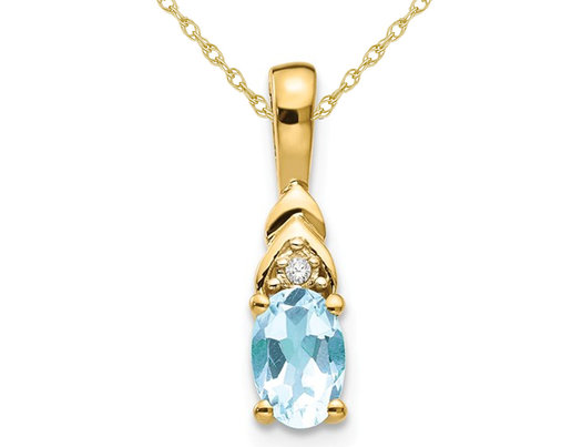 1/3 Carat (ctw) Natural Aquamarine Drop Pendant Necklace in 14K Yellow Gold with Chain