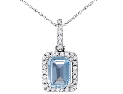 3/4 Carat (ctw) Emerald Cut Natural Aquamarine Pendant Necklace in 14K White Gold with Chain and Diamonds