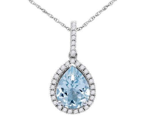1.20 Carat (ctw) Natural Aquamarine Drop Pendant Necklace in 14K White Gold with Chain and Diamonds