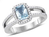3/4 Carat (ctw) Natural Cushion Cut Aquamarine Ring in 14K White Gold with Diamonds 1/3 Carat (ctw G-H , SI2)